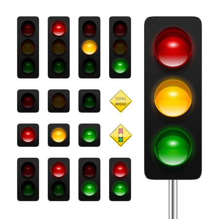 Ilustración de traffic lights icon set. High quality three aspects, dual aspects and single aspects traffic signals icons isolated on white background. Traffic lights ahead and signal ahead road signs. - Imagen libre de derechos
