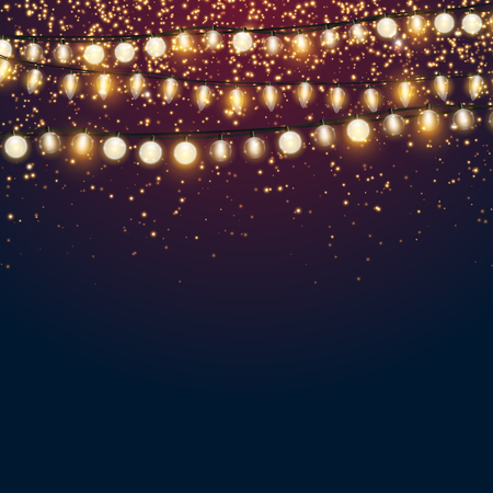 Beautiful dark blue Christmas vector background with sparkling golden glitter and shiny Xmas lights with empty copyspace for your design