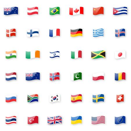 Ilustración de World flags vector icon set. Shiny glossy small waving flag icons with correct proportions and colors. - Imagen libre de derechos