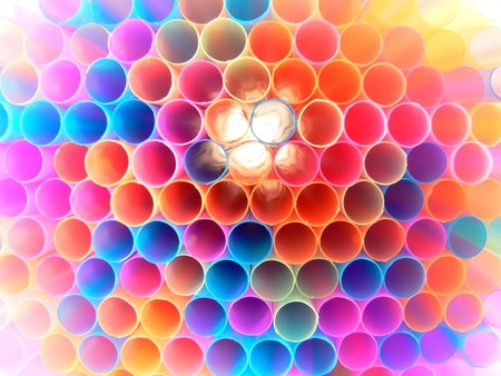 Close up front picture of many multi colored straws