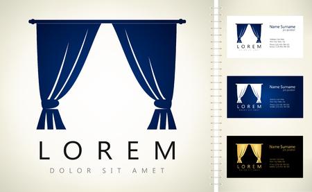 Curtains logo. Vector illustration.