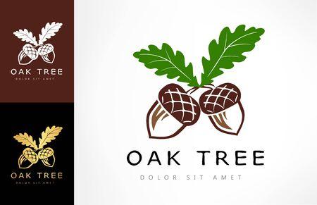 Illustration pour Oak tree logo. Acorn vector. - image libre de droit