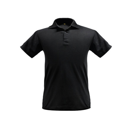 Photo pour Black fashion polo shirt template on isolated background with clipping path. - image libre de droit