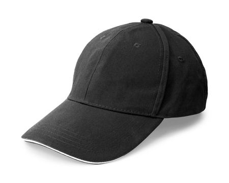 Photo pour Black cap isolated on white background. Template of baseball cap in side view. ( Clipping path ) - image libre de droit