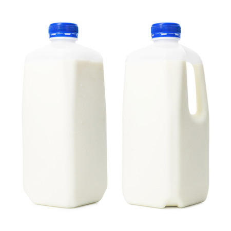 Photo pour Fresh milk bottles in liter container isolated on white background. Breakfast drink for health. ( Clipping path ) - image libre de droit