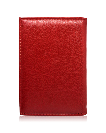 Photo pour Red passport wallet isolated on white background. Template of leather purse for your design. - image libre de droit