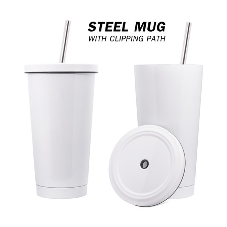 Foto de Water steel mug and tube isolated on white background. Insulated water container mug. - Imagen libre de derechos