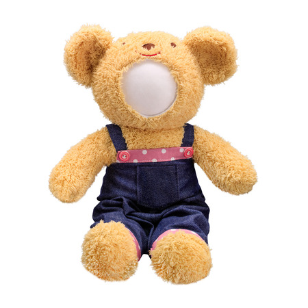 Photo pour Teddy bears doll isolated on white background. Bear's doll in blue jeans uniform. Blank face toy for design. - image libre de droit
