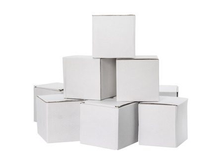 Photo pour White box isolated on white background. Cardboard package foe delivery or your design. - image libre de droit