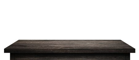 Photo for Empty Wood table with black wood planks isolated on pure white background. Wooden desk and black shelf display board with perspective floor. ( Clipping path ) - Royalty Free Image