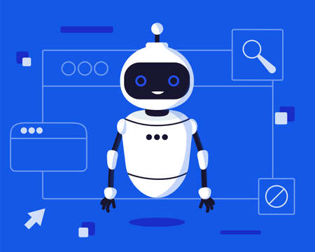 Illustration for Chat bot robot say hi vector flat cartoon character illustration on blue background speak bubble voice support service chat bot virtual online help customer support - Royalty Free Image