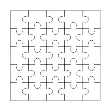 Ilustración de Square maze grid template Jigsaw puzzle 25 pieces thinking game and 5x5 jigsaws detail frame design Black and white stock vector illustration - Imagen libre de derechos