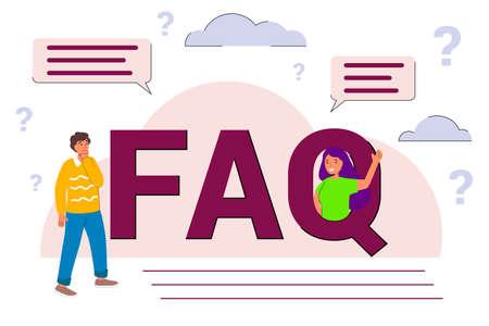 Illustration pour FAQ - frequently asked questions flat vector concept illustration Online Support center Question answer metaphor Creative web page design template - image libre de droit