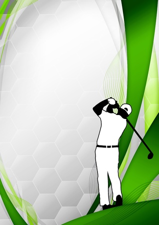 Golf poster  golfer shooting background with space