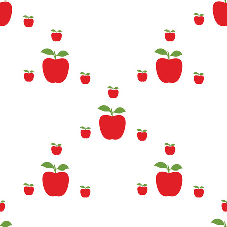 red apples big and small with green leaves  pattern abstract design of a white background