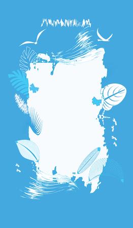 Frame in grunge style - exotic leaves, waves, seagulls - vector art illustration. Element for design. Travel Poster.