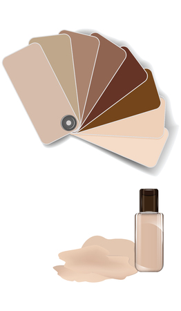 Makeup foundation palette, fan catalog, bottle - isolated on white background - vector