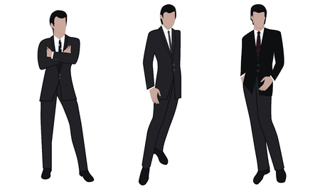 Illustration pour Men - three images of businessmen in classic suits - isolated on white background - vector. - image libre de droit