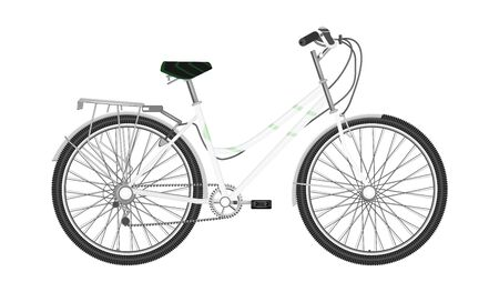 Illustration pour Bicycle with white frame, female, urban - isolated on white background - flat style - vector - image libre de droit