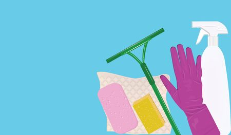 Banner - Set of goods for home cleaning - light background - flat style - vector