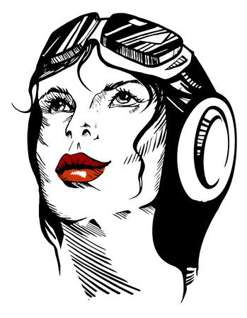 Vector illustration of a hand-drawn retro female portrait of a pilot.