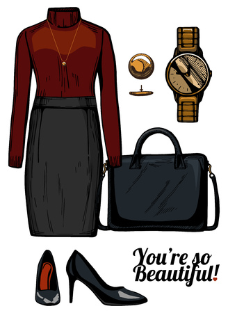 Vector illustration of women fashion clothes look set. Turtleneck blouse, pencil skirt, structured bag, patent leather pumps shoes, golden watch.Ink hand drawn style, colored.