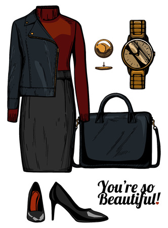 Vector illustration of women fashion clothes look set. Turtleneck top, rider jacket, structured bag, golden watch and patent leather black pumps.Ink hand drawn style, colored.