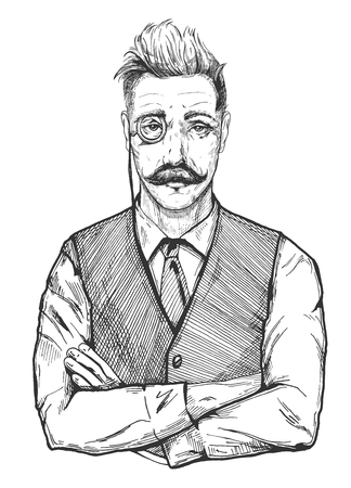 Illustration pour Vector illustration of attractive man in age. Mans portrait in vintage vest, tie and shirt, with a monocle. Sleek hairstyle, handlebar moustaches. Hand drawn old fashioned engraving drawing of an old gentleman banker, businessman, lawyer, tailor, fashion designer, barber or shoe maker. - image libre de droit