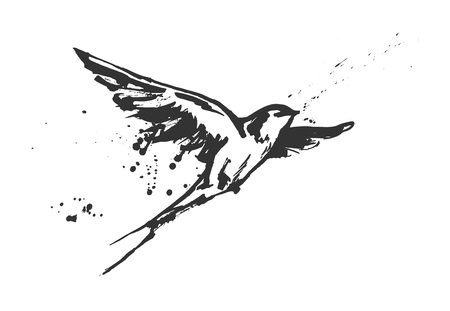 Ilustración de Vector illustration of a dynamic flying swallow bird. Modern splashing ink sketchy painting artwork. Monochrome black and white drawing, calligraphy flourishing style. Perfect tattoo or t-shirt print. - Imagen libre de derechos