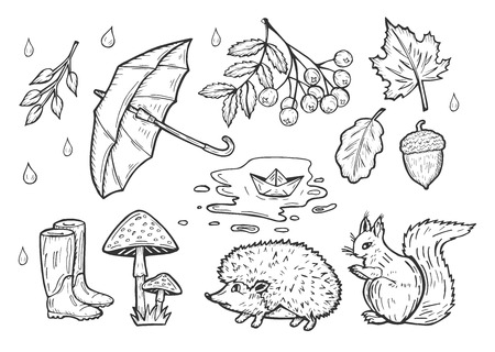 Illustration pour Vector hand drawn illustration of the autumn weather set. Rain drops, open umbrella, rubber boots, falling leave, a bunch of rowan, fly agaric mushrooms, squirrel, hedgehog, puddle with paper ship. - image libre de droit