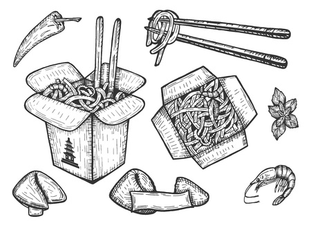 Illustration for Vector illustration of a Chinese takeaway noodles set. Fortune cookies with empty note, macaroni, rice, spicy seafood, shrimp, chili. Top and perspective view box with chopsticks. - Royalty Free Image