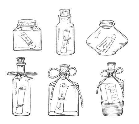 Illustration pour Vector illustration of the different bottle with a note. Transparent outline drawings. Love you, message from the universe, hug you, open it quotes. Hand drawn style. - image libre de droit