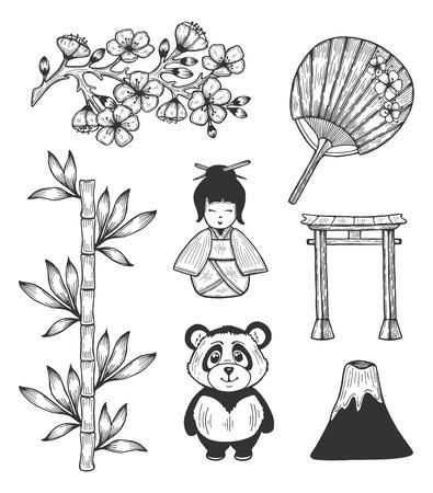 Illustration pour Vector illustration of Japan cultural symbols icons. Sakura cherry blossom flowers branch, cartoon geisha, panda bear, traditional rice paper fan, torii arc gate, volcano.  Hand drawn doodle style. - image libre de droit