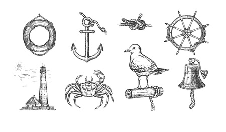 Illustration pour Vector illustration of marine nautical set. Anchor, crab, bell, lighthouse, steering wheel, gull, sea knot, lifebuoy. Vintage hand drawn style. - image libre de droit