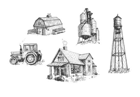 Illustration pour Vector illustration of farmers buildings and vehicle set. House, water tower, windmill, grain silo, grain elevator, farm, tractor. Vintage hand drawn style. - image libre de droit