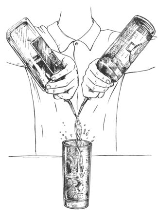 Illustration for Vector illustration of fresh cocktail making mixing process. Barman in uniform free pouring alcohol from bottles to tall drink glass with ice. Vintage hand drawn style. - Royalty Free Image