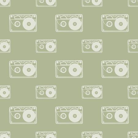 Vektor für Cassette pattern, music background. Retro and luxury style illustration - Lizenzfreies Bild