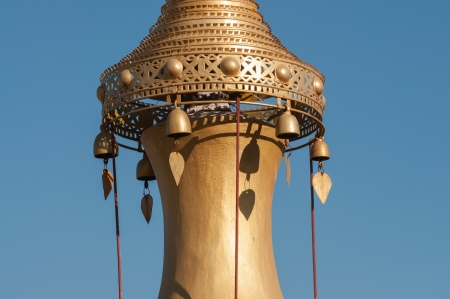 Detail of a gold stup spire with jingles in Shwe Indein near Inle lake in Myanmar