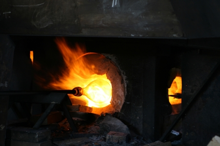 Furnace at a glass blowing factory