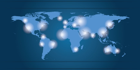 World Map business locations, blue and white