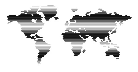World map horizontal lines