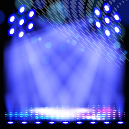 Blue spotlight background with light show effects.