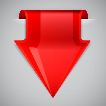 Red arrow bookmark. Design element.