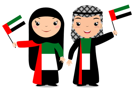 Smiling chilldren, boy and girl, holding a UAE flag isolated on white background. Vector cartoon mascot. Holiday illustration to the Day of the country, Independence Day, Flag Day.