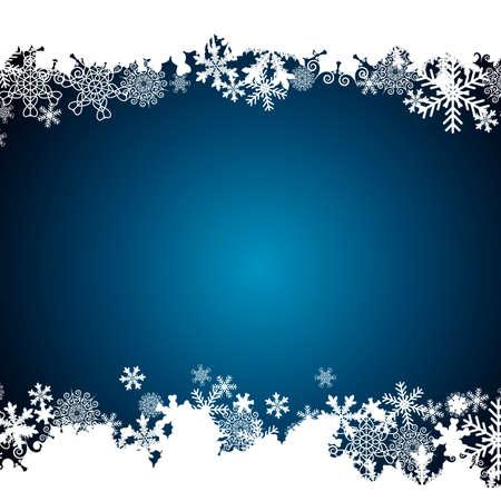 Illustration for Christmas border, snowflake design background. - Royalty Free Image