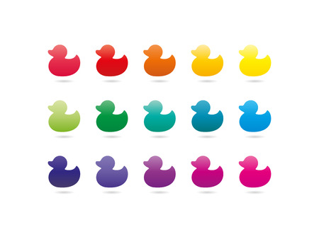 Colorful rainbow spectrum duck icons. Animal symbol. Vector graphic illustration template. Isolated on white background.