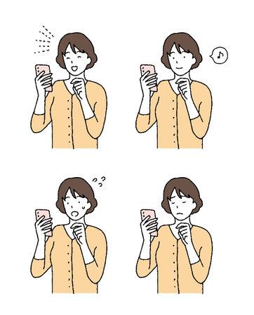 Illustration pour Simple touch Illustration with a woman's smartphone - image libre de droit