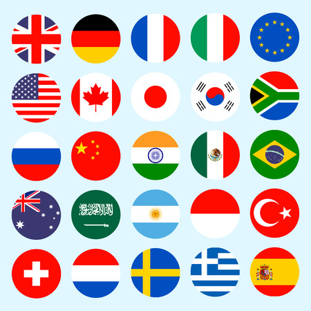 Circle flags vector of the world. Flags icons in flat style. Simple vector flags of the countries.