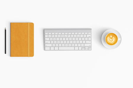 Photo for Modern workspace with coffee cup, paper, notebook copy space on white color background. Top view. Flat lay style. - Royalty Free Image