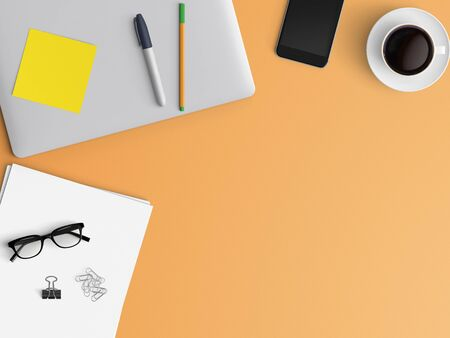 Photo pour Modern workspace with closed notebook or laptop, pen, smartphone, tablet and coffee cup copy space on color background. Top view. Flat lay style. - image libre de droit